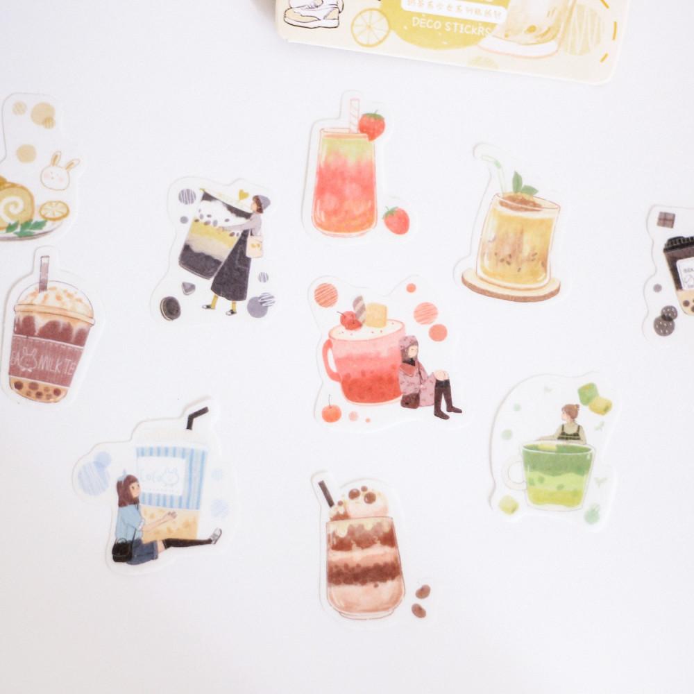 ملصقات و ستيكرات مجموعة   قهوة باردة فرابتشينو كراميل ماكياتو  لاتيه