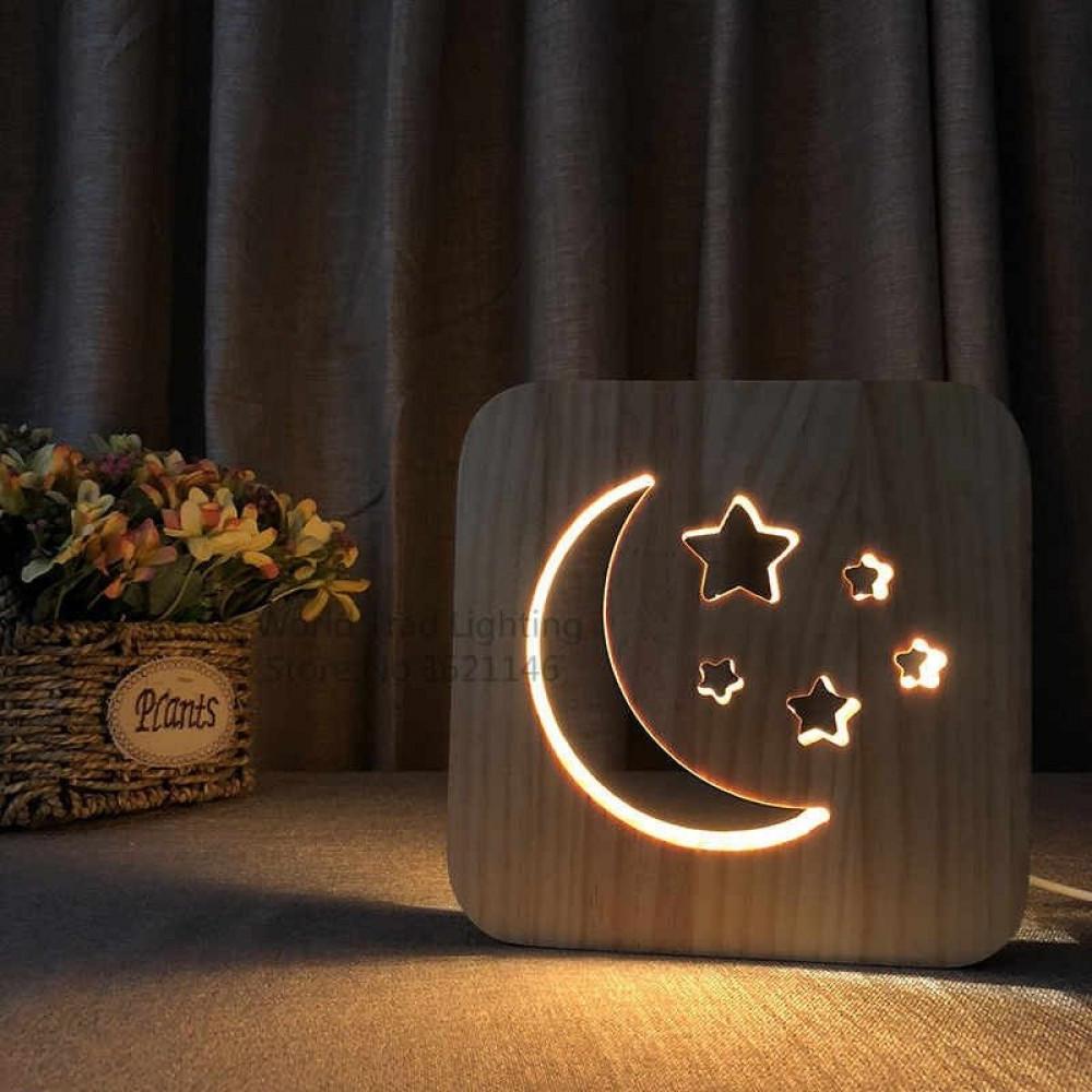 مواسم تحفة فنية خشبية على شكل هلال مصنوعة من الخشب ومزودة بإضاءة ليد