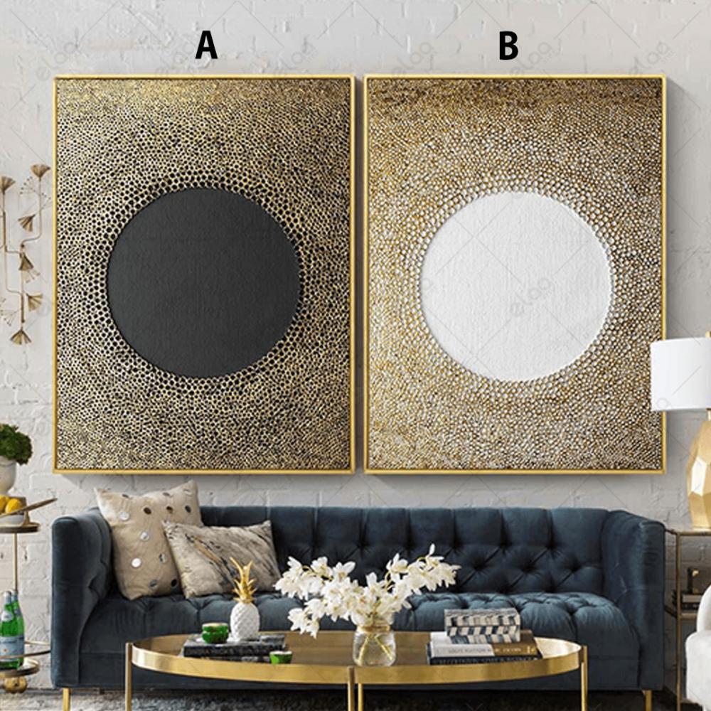 لوحات فن تجريدي للون الذهبي والابيض والرمادي