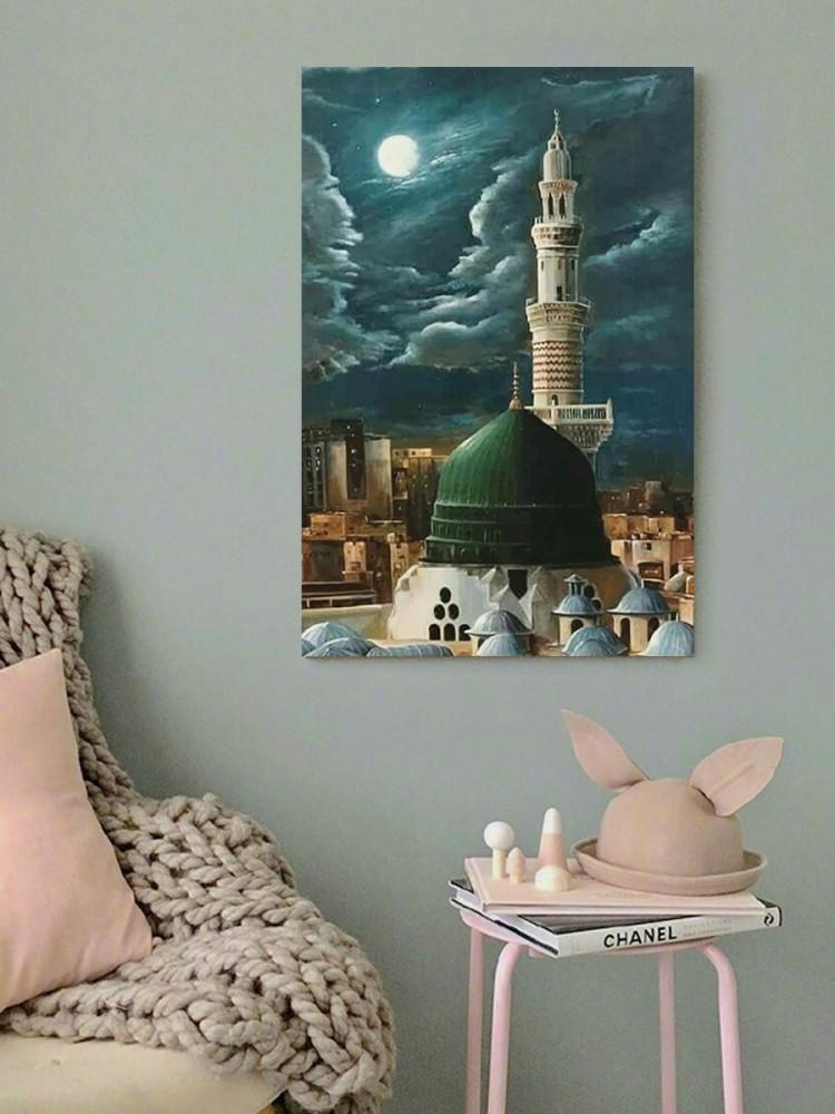 لوحة الحجرة النبوية المسجد النبوي المدينة المنورة خشب مقاس 40x60 سم