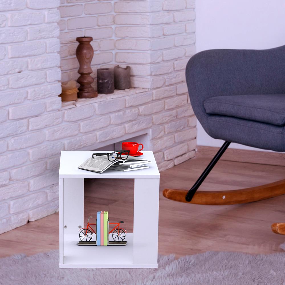 طاولة جانبية موديل رماس خشب أبيض على شكل صندوق مكعب مفتوح من أربع جهات