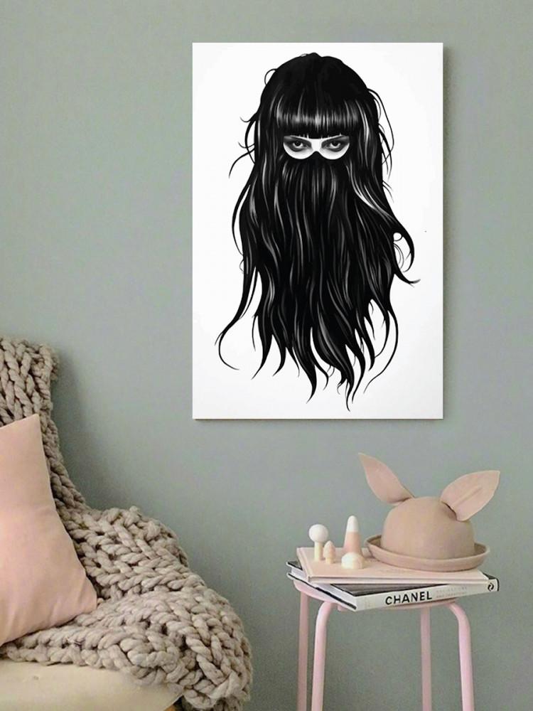 لوحة المرأة شعر طويل خشب ام دي اف مقاس 40x60 سنتيمتر