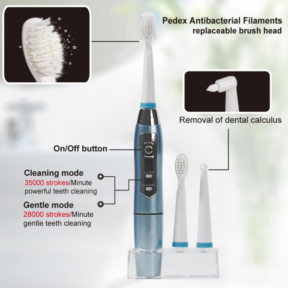 فرشاة اسنان كهربائية تعمل بالبطارية لمدة 90 يوم للكبار والصغار