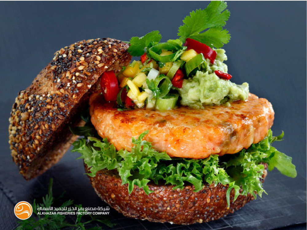 سالمون برغر بالجبن jalapeno cheese burger salmon