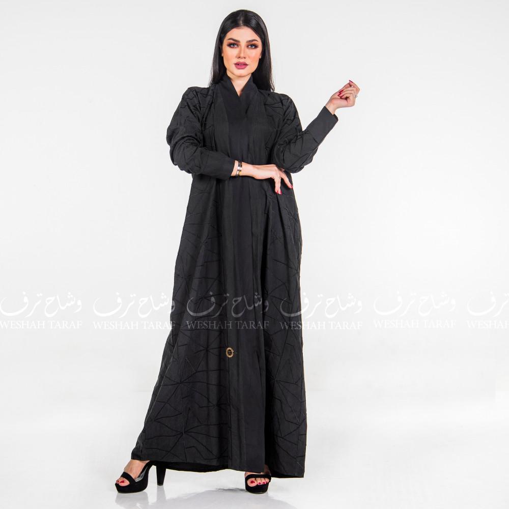 عباية شامواه كلاسيك كم مقلوب طقطق لون أسود