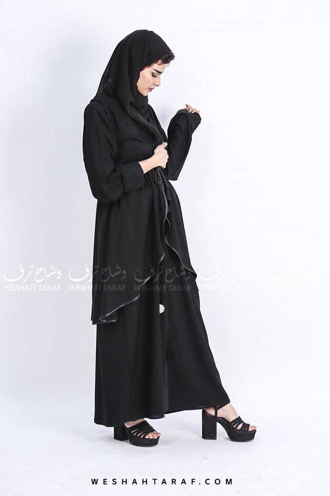 عباية كويتي طبقتين بحزام داخلي قماش ملكي
