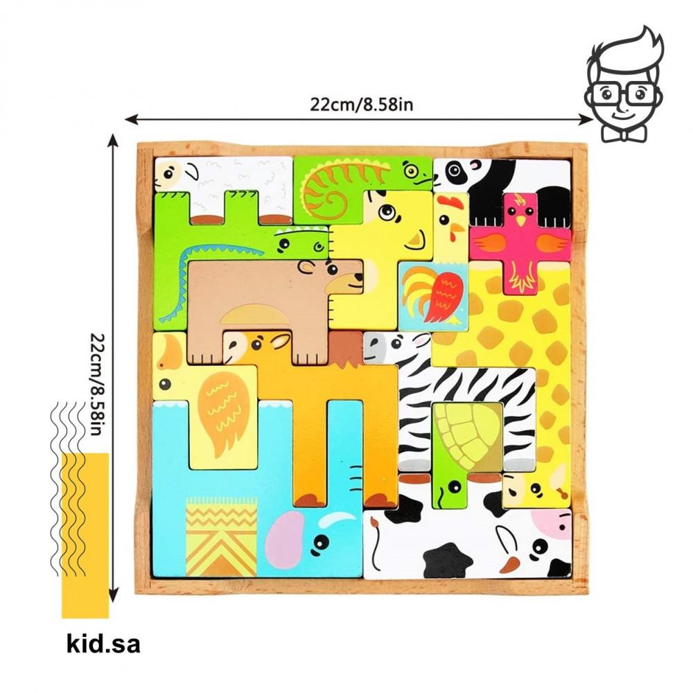 حجم لعبة الحيوانات الخشبية للاطفال الملونة