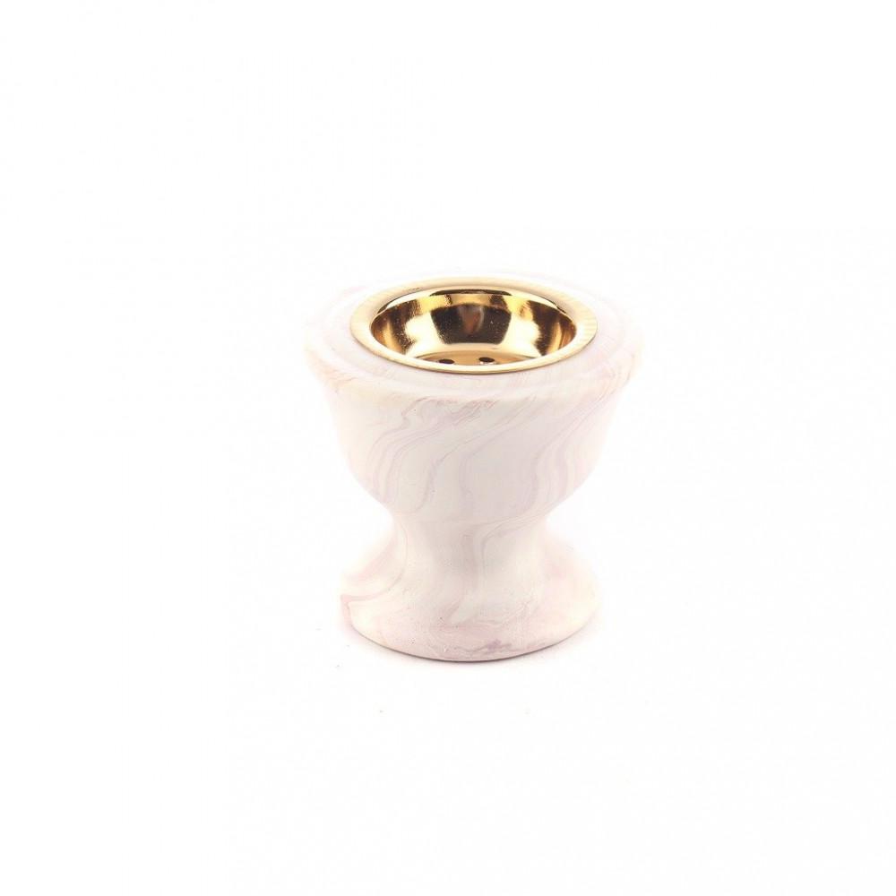 مبخرة ابيض مخطط مع غطاء ذهبي صغير