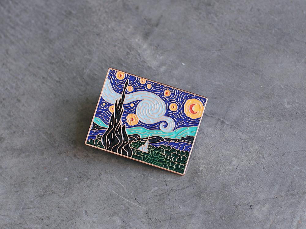 بروش ليلة النجوم فان جوخ مجموعة بروشات لوحات فنية لفان جوخ