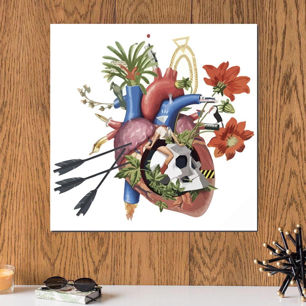 لوحة القلب خشب ام دي اف مقاس 30x30 سنتيمتر