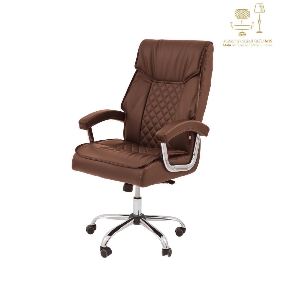كرسي دوار جلد بني من كاما  DTBXH-9241