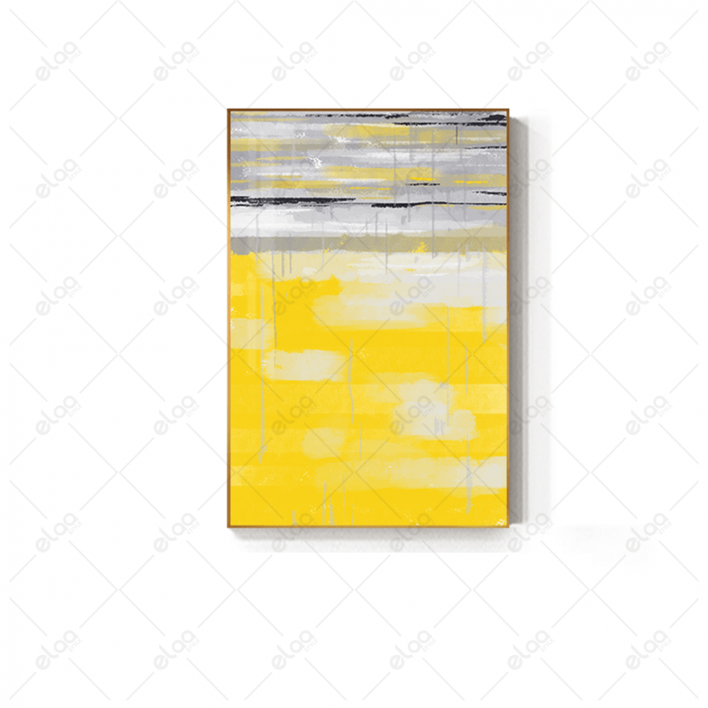 لوحة فن تجريدي بدرجات الالوان الرمادي والاصفر