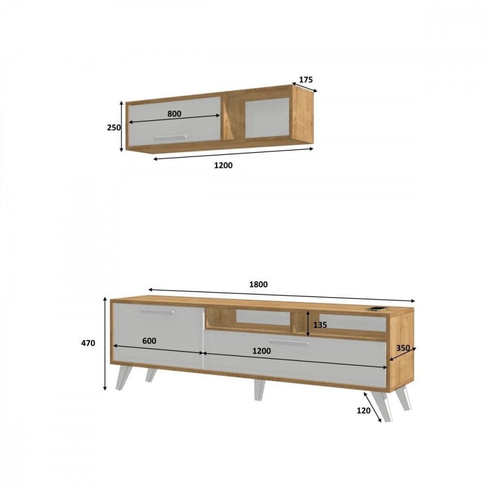 مواسم طاولة تلفاز مكونة من قطعتين القياسات التفصيلية للأجزاء الطاولة