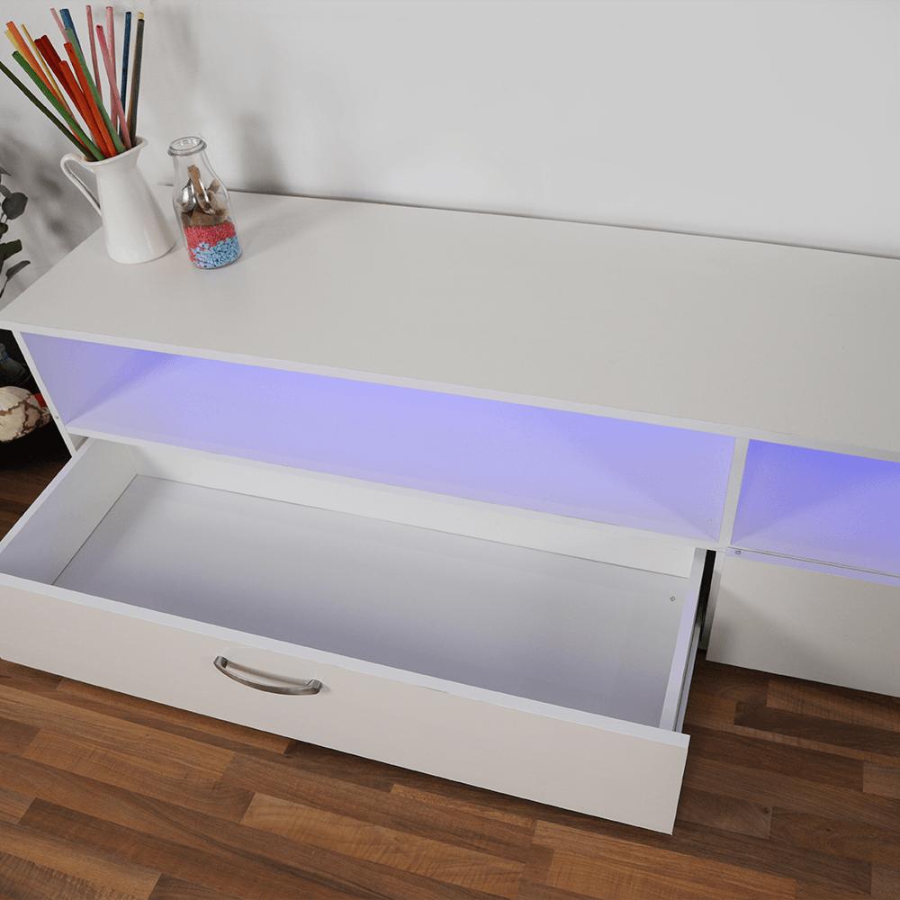 طاولة تلفاز بسيطة التصميم مودرن من الخشب الطبيعي اللون أبيض ليد