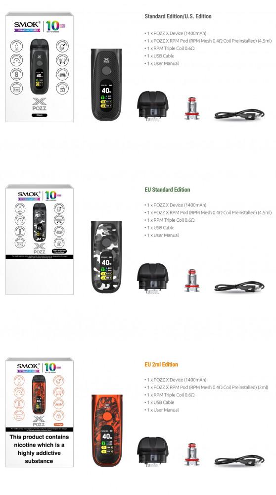 Smoktech POZZ X 40W elektronická cigareta 1400mAh Black اكس بوز سموك