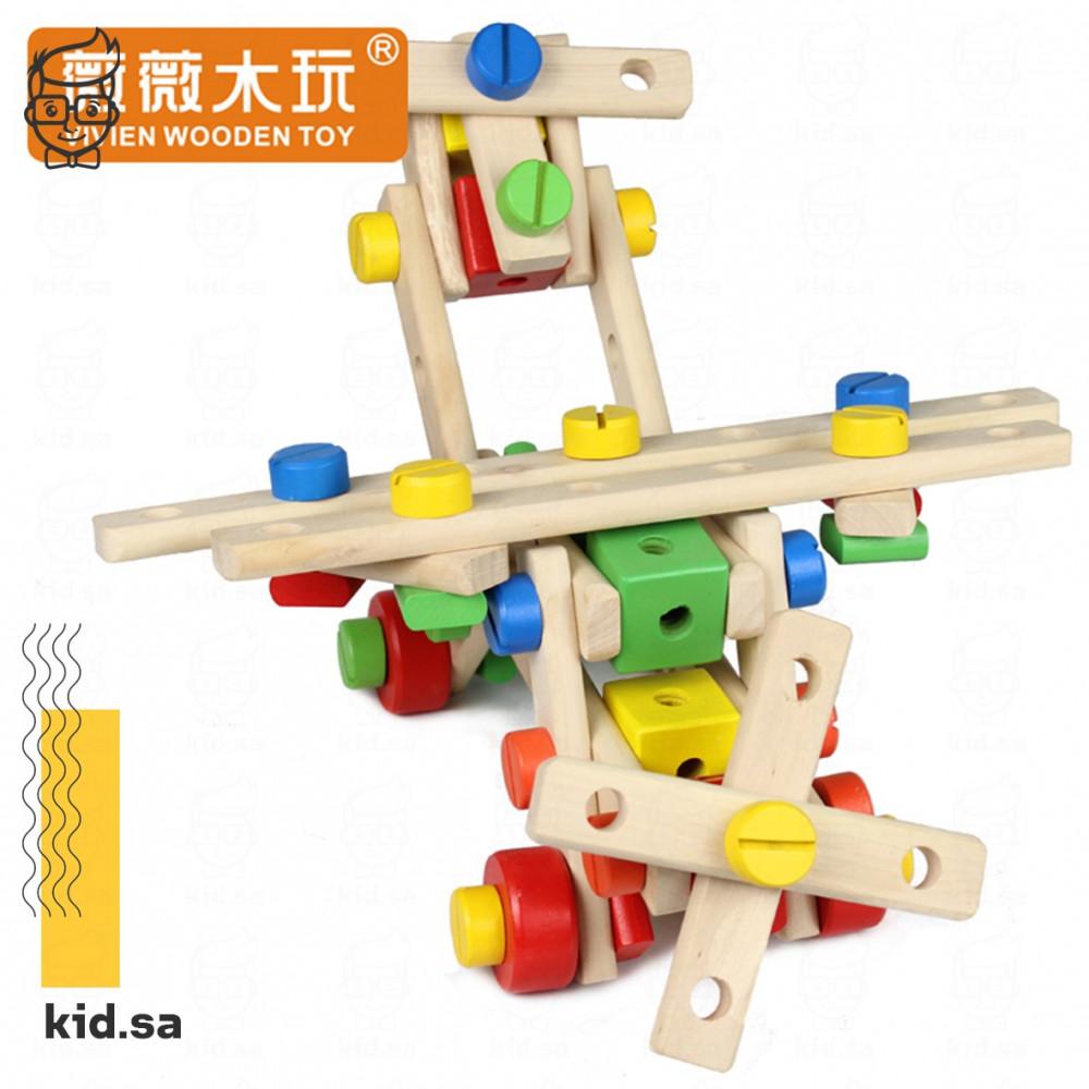 لعبة تركيب خشبية مع معدات و مسامير