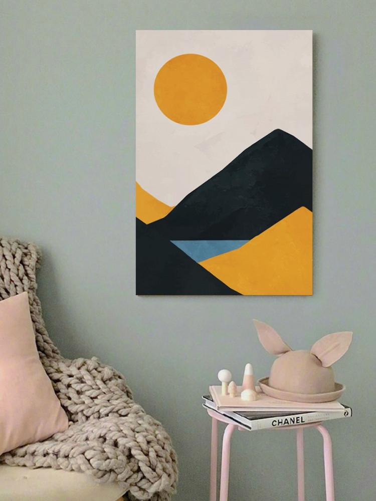 لوحة فن تجريدي شمس و جبال خشب ام دي اف مقاس 40x60 سنتيمتر