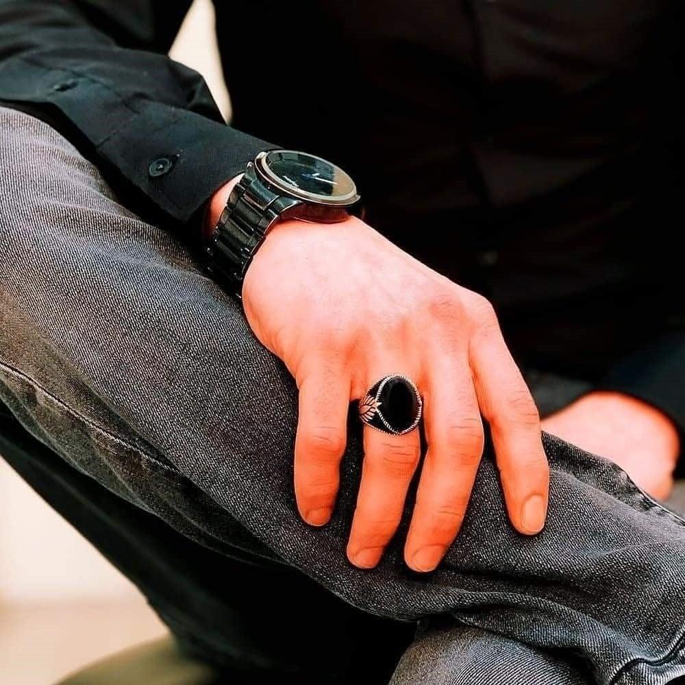خاتم صياغة راقية مرصع بحجر عقيق