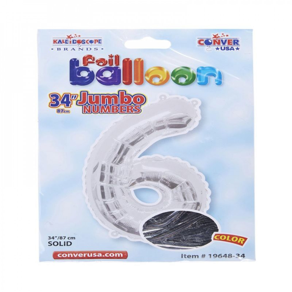 بالون فضي, Silver Balloon, بلونات أرقام, بالون رقم 6