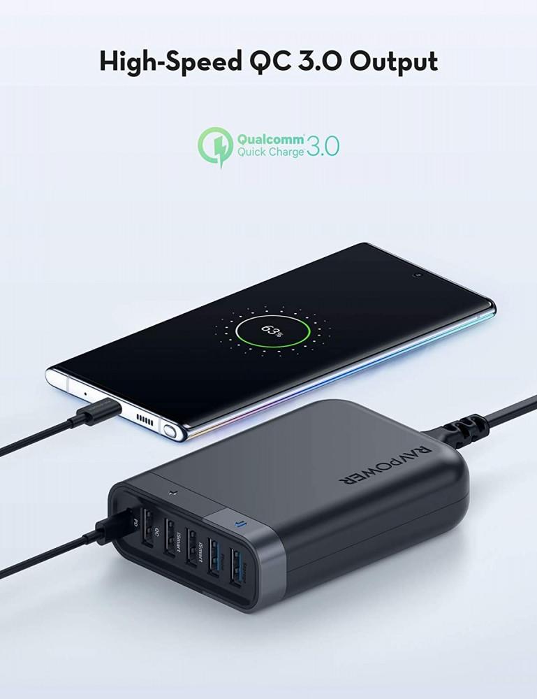 RAVPower USB C Wall Charger 60W 6 Port HUB