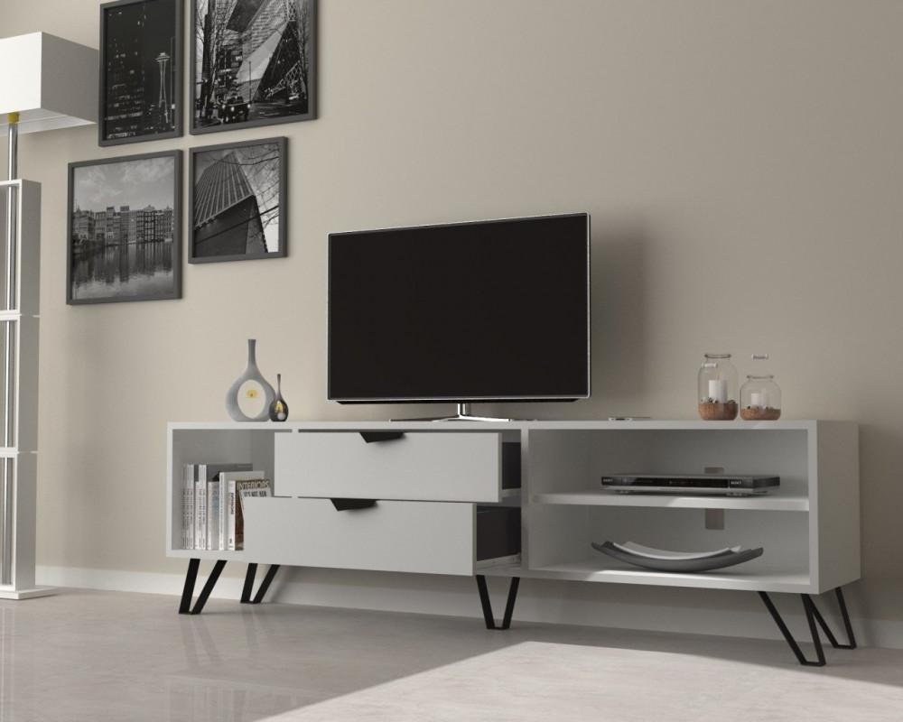 مواسم طاولة تلفاز بيضاء متعددة الاستخدام مزينة بالتحف والأنتيكات