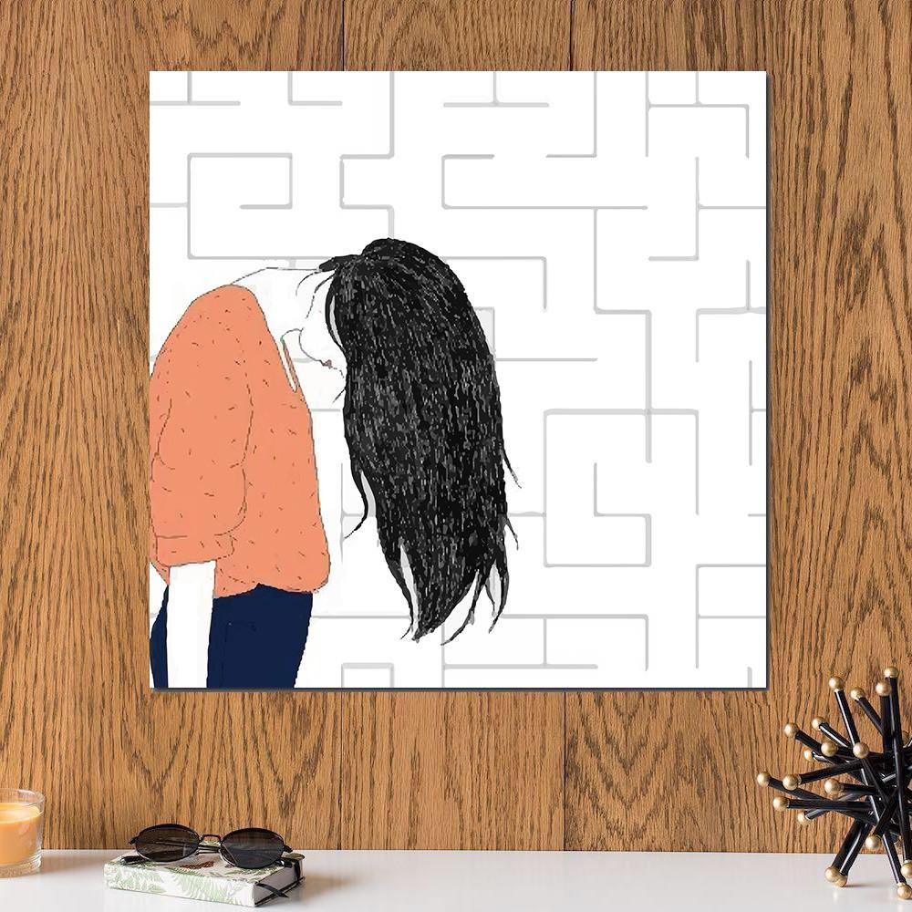 لوحة فتاة حزينة خشب ام دي اف مقاس 30x30 سنتيمتر
