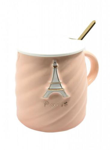 كوب سيراميك للقهوة و الشاي مع ملعقة  و غطاء زهري 10 x 10 x 12 سنتيمتر
