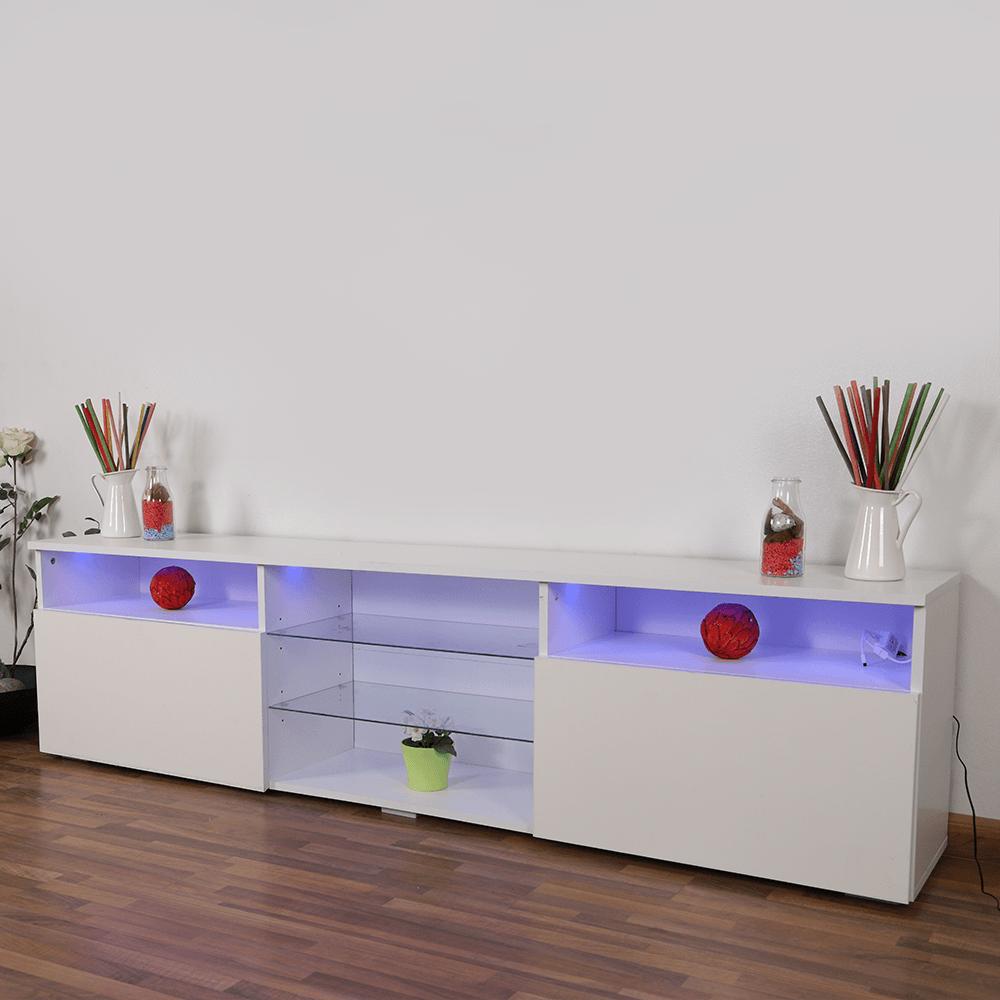 تجارة بلا حدود عنده طاولة تلفاز برفوف زجاجية NEAT HOME بإضاءة خلفية