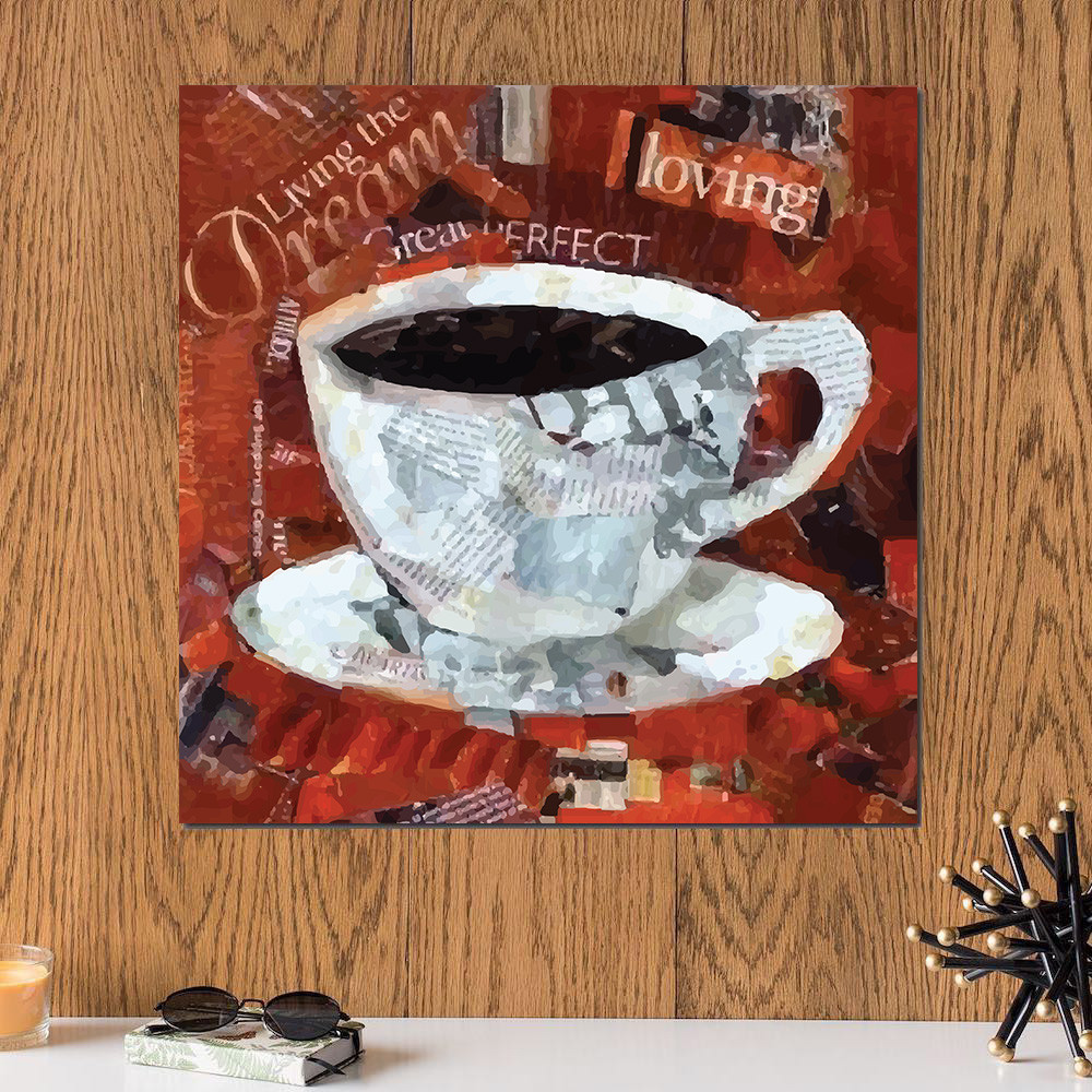 لوحة فنجان قهوة خشب ام دي اف مقاس 30x30 سنتيمتر