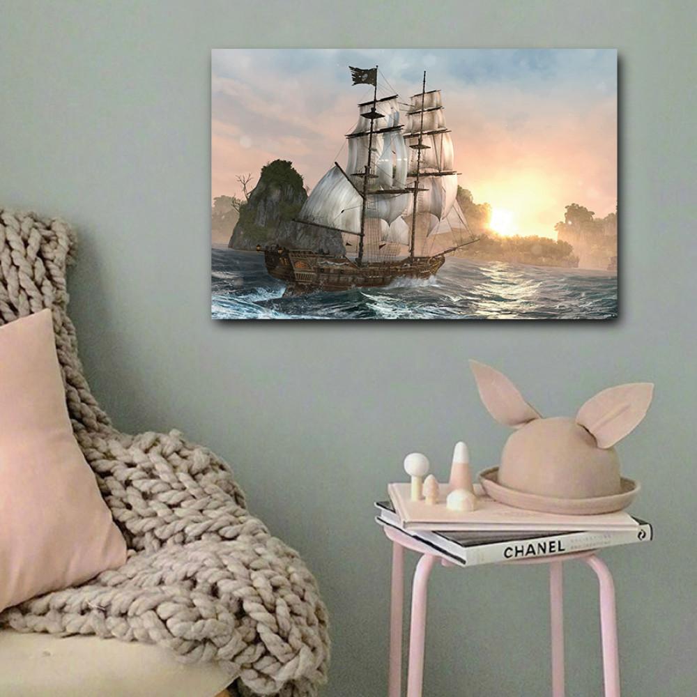لوحة سفينة قراصنة شراعية خشب ام دي اف مقاس 40x60 سنتيمتر