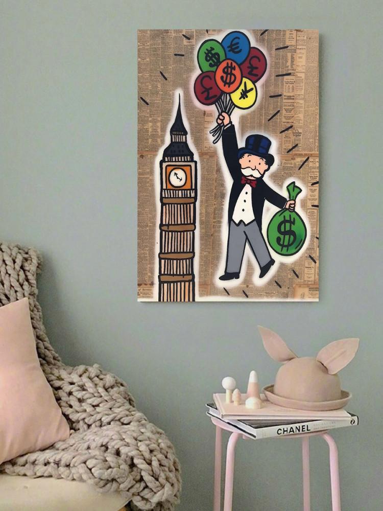 لوحة ساعة بيج بن مونوبولي خشب ام دي اف مقاس 40x60 سنتيمتر