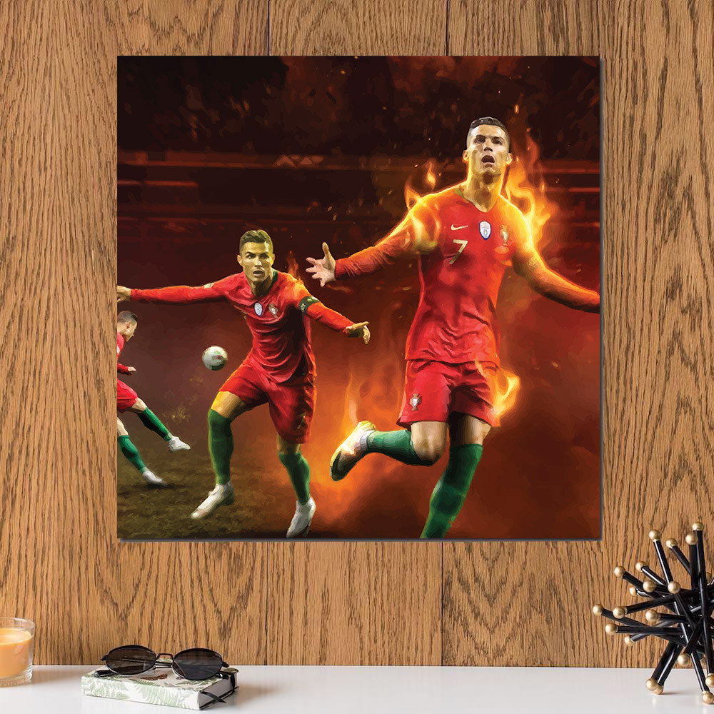 لوحة كريستيانو رونالدو خشب ام دي اف مقاس 30x30 سنتيمتر