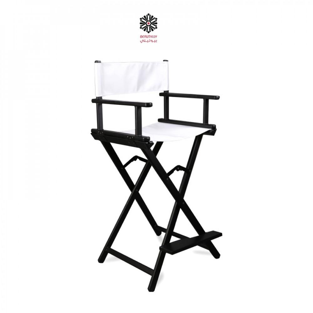 كرسي مكياج متنقل أسود مع قماش أبيض