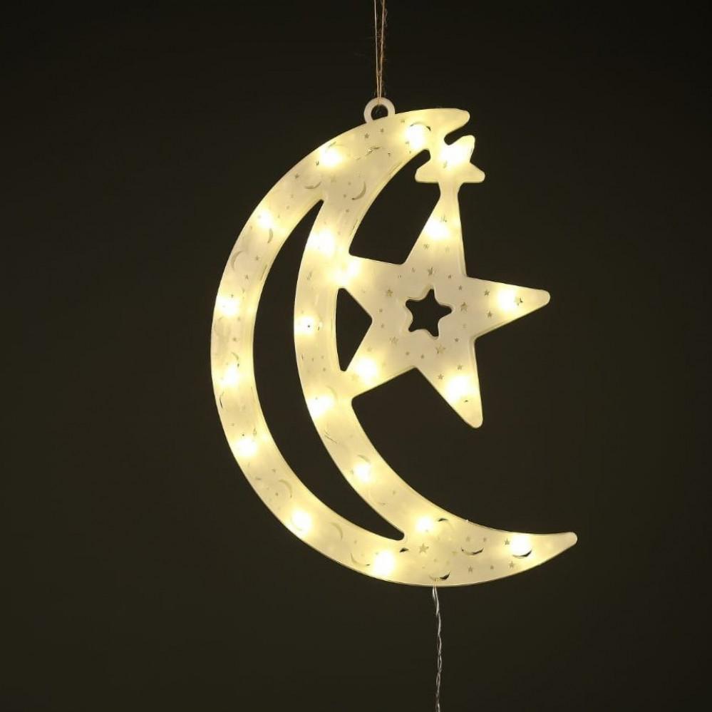 اضاءة تعليق نجمة و هلال لشهر رمضان