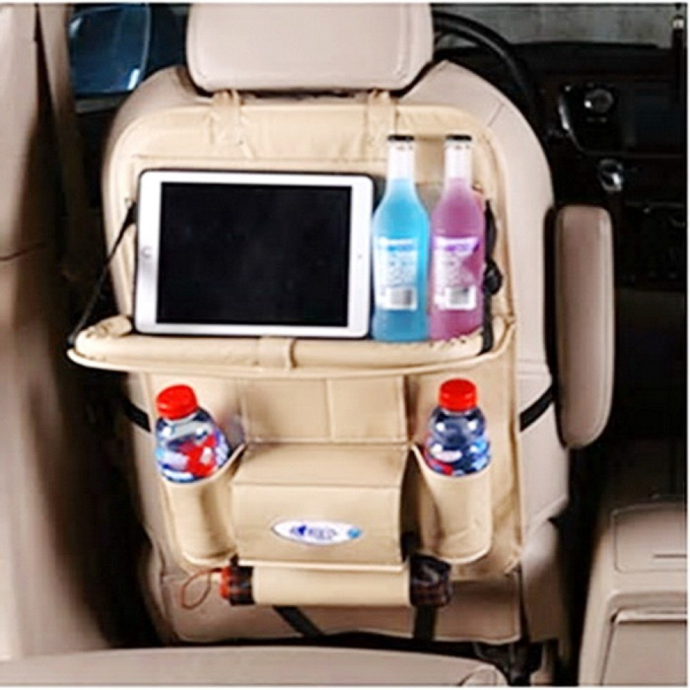 حقيبة تخزين 9 جيوب متعددة الوظائف خلف مقعد السيارة من الجلد