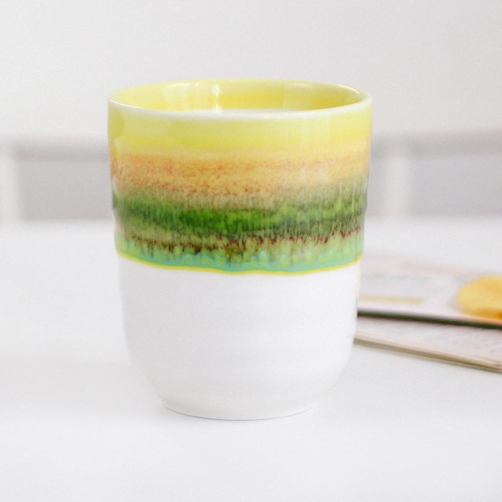 كوب سيراميك خزف كوب قهوة أدوات القهوة المختصة كوب لاتيه أصفر أخضر متجر