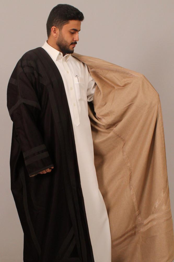 فروة قماش كشميري حورانية اسود بيج
