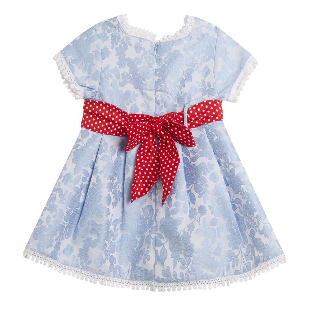 فستان-سماوي-فيونكة-حمراء
