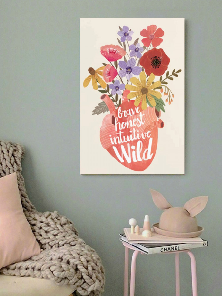 لوحة القلب و الورد خشب ام دي اف مقاس 40x60 سنتيمتر