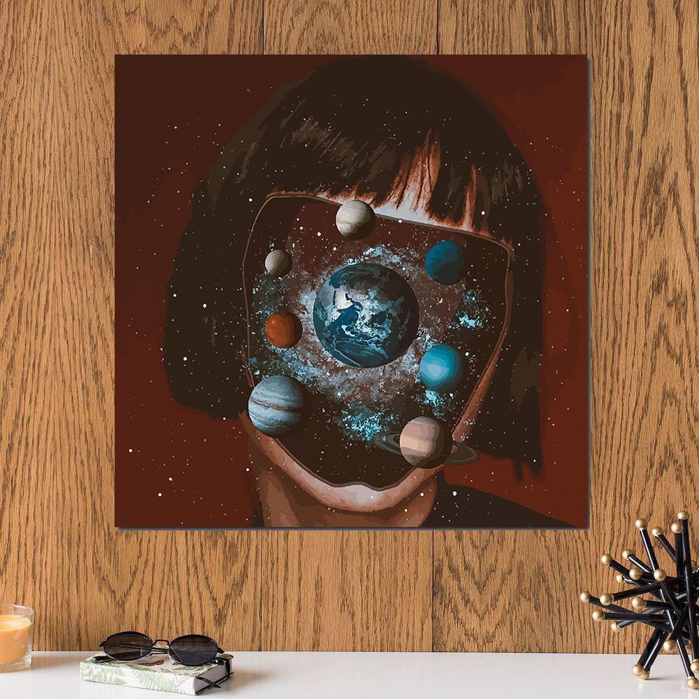 لوحة المجموعة الشمسية خشب ام دي اف مقاس 30x30 سنتيمتر