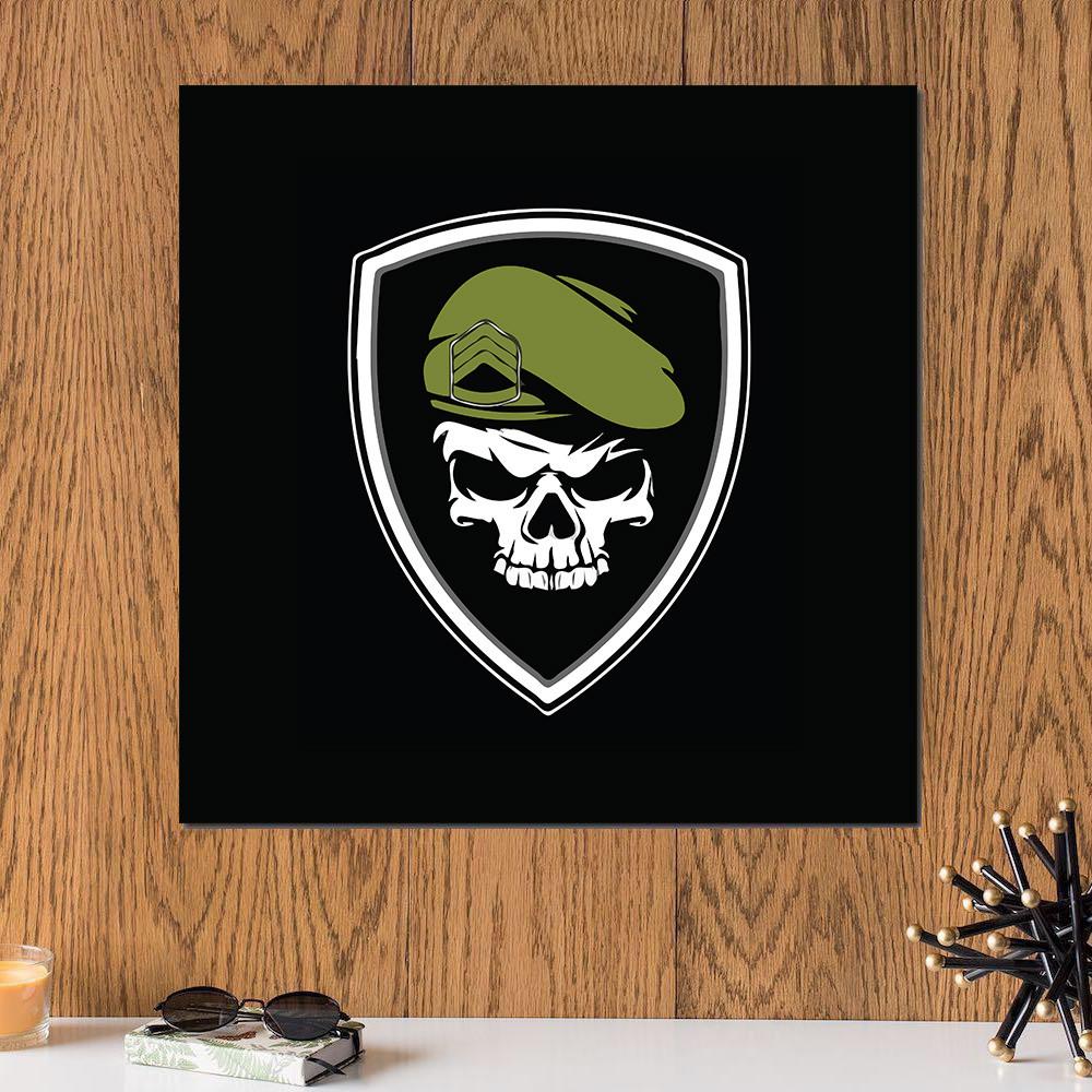 لوحة جمجمة عسكرية خشب ام دي اف مقاس 30x30 سنتيمتر