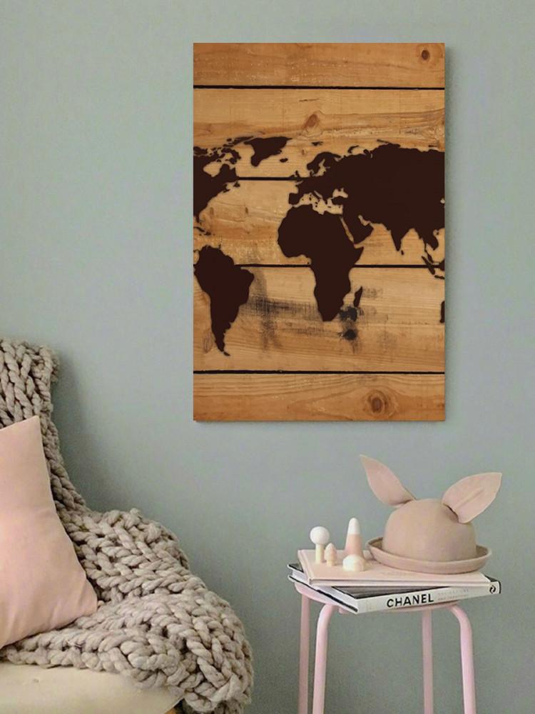 لوحة خريطة العالم خشب ام دي اف مقاس 40x60 سنتيمتر