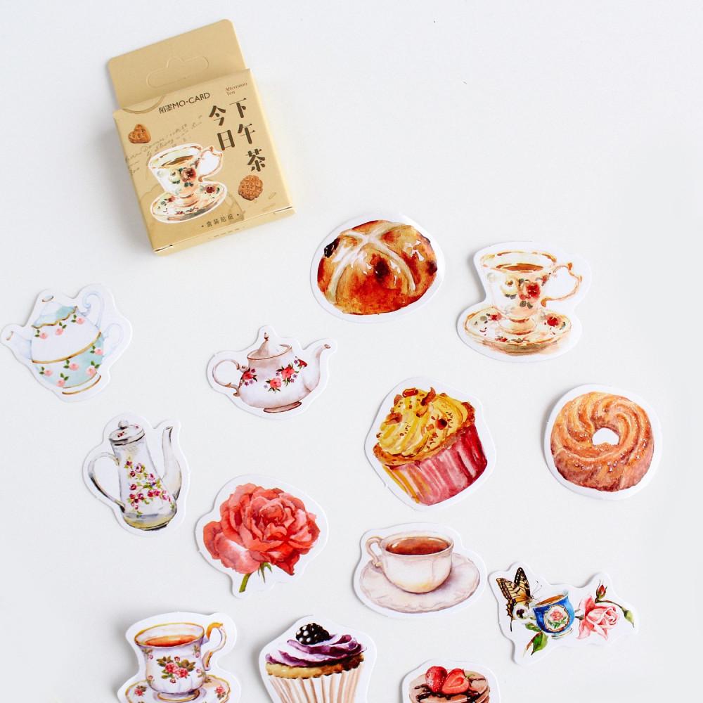 ملصقات و ستيكرات مجموعة ستيكرات لاصقة قهوة شاي حلويات تزيين الابتوب
