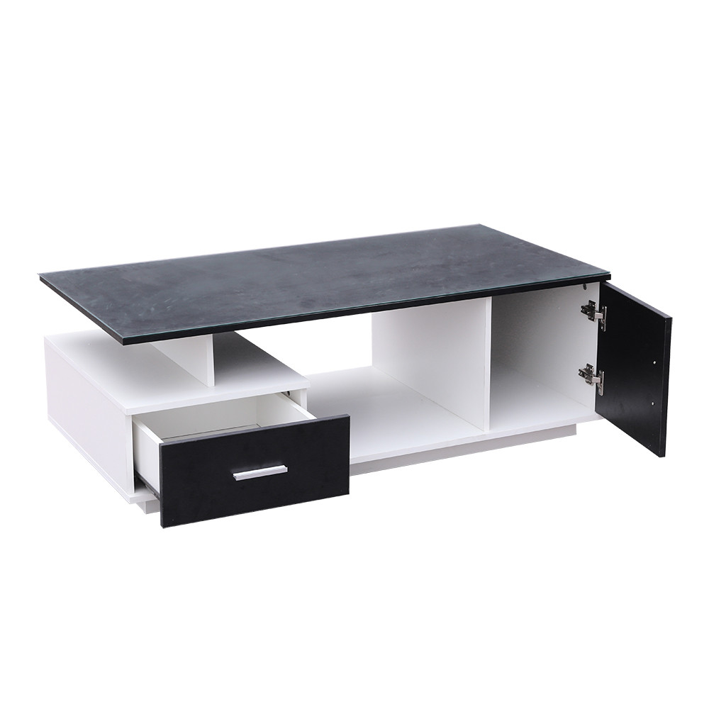 صور طاولة ضيافة موديل تاهيتي خشب أبيض وأسود مع درج ووحدة تخزين عصرية