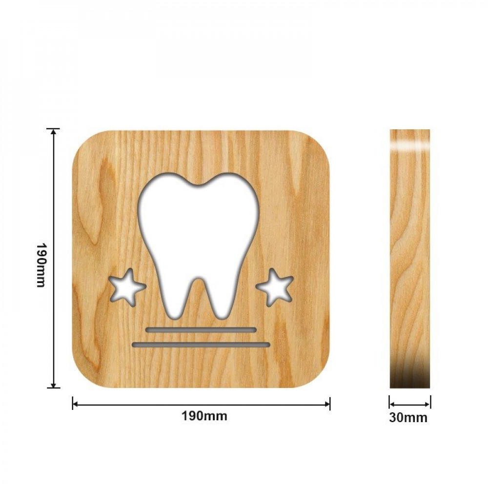 من مواسم تحفة فنية خشبية ومضيئة بشكل سن القياسات التفصيلية للتحفة