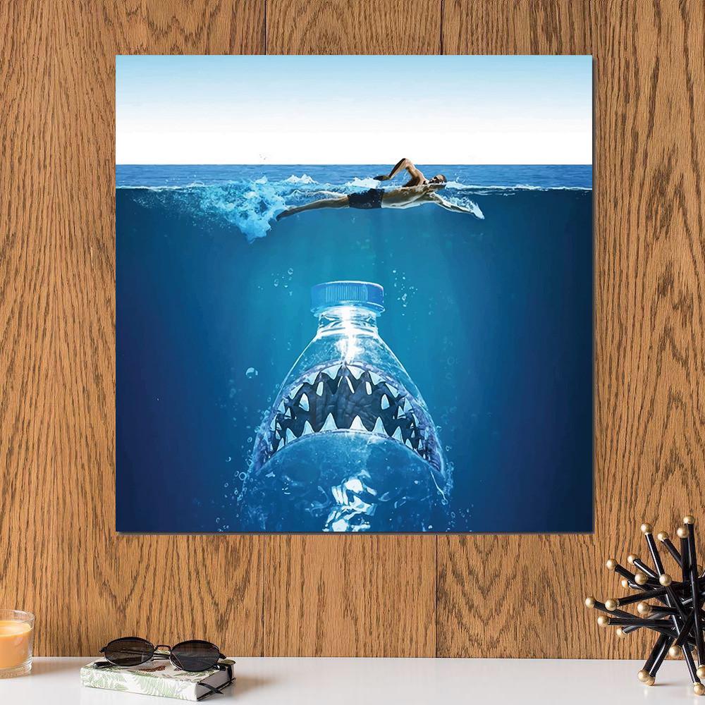 لوحة القرش خشب ام دي اف مقاس 30x30 سنتيمتر