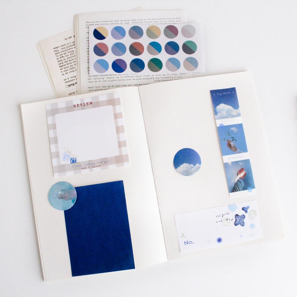 ستيكر طريقة عمل الكولاج ستيكرات دفتر لابتوب لواكر أزرق سماء بحر متجر