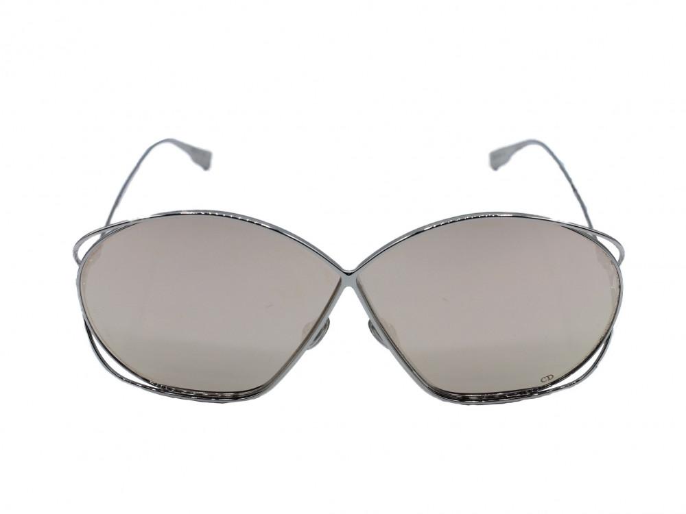 نظاره شمسية دائرية من ماركة  DIOR  لون العدسة اسود ميرور روز قولد