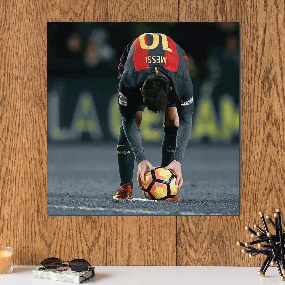 لوحة ميسي لاعب نادي برشلونة خشب ام دي اف مقاس 30x30 سنتيمتر