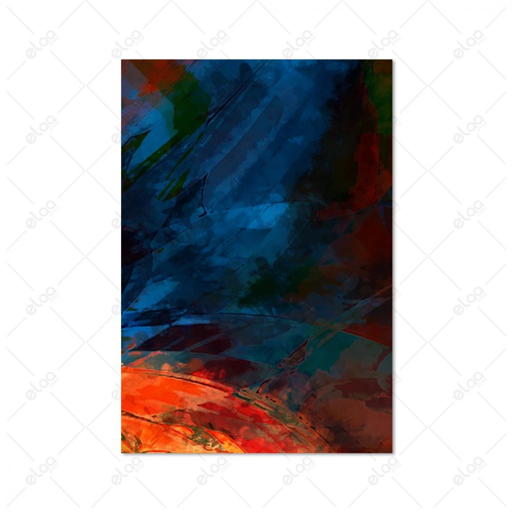 لوحة فن تجريدي لريش باللون الازرق والاحمر